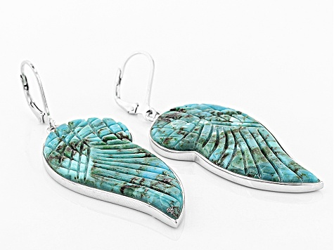 Blue Turquoise Sterling Silver Angel Wing Earrings
