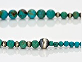 Blue Kingman Turquoise Sterling Silver Bead Necklace