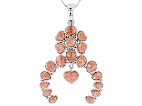 Pink Rhodochrosite Sterling Silver Enhancer With Chain
