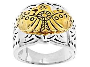 Sterling Silver And 18k Yellow Gold Over Silver Two-Tone Ring