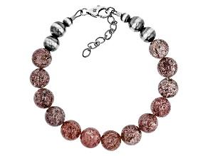 Pink Strawberry Quartz Sterling Silver Bracelet
