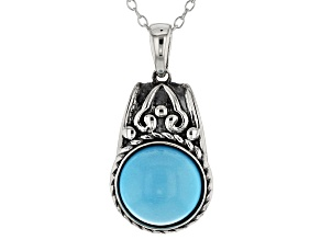 Blue Sleeping Beauty Turquoise Sterling Silver Pendant With Chain