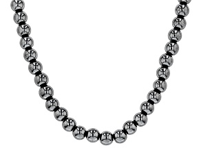 Hematine bead Rhodium Over Sterling Silver Necklace