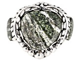 Green Zebra Jasper Sterling Silver Ring