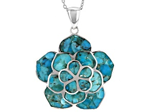 Turquoise Sterling Silver Flower Pendant