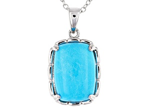Turquoise Sleeping Beauty Rhodium Over Sterling Silver Pendant