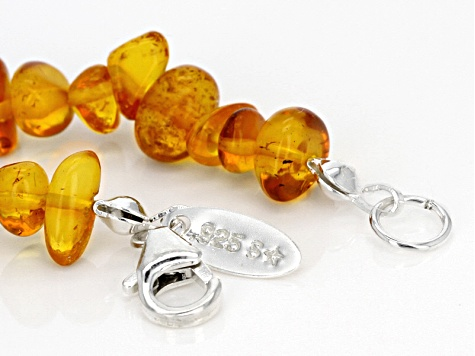 Orange Amber Nugget Sterling Silver Bracelet