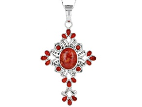 Red Sponge Coral Cross Enhancer with Chain