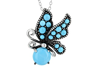 Blue Turquoise Silver Butterfly Slide with Chain