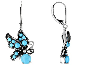 Blue Turquoise Sterling Silver Butterfly Dangle Earrings