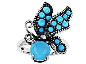 Blue Turquoise Sterling Silver Butterfly Ring