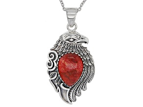 Red Sponge Coral Eagle Pendant With Chain