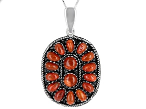 Red Sponge Coral Rhodium Over Silver Enhancer With Chain