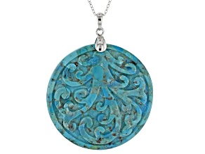 Blue carved Turquoise, Rhodium Over Silver Pendant With Chain