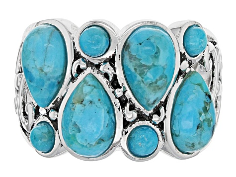Blue Turquoise Sterling Silver Band Ring