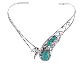 Blue Turquoise Sterling Silver Collar Necklace