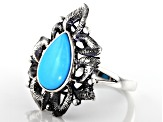 Sleeping Beauty Turquoise Rhodium Over Sterling Silver Ring