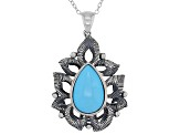 Sleeping Beauty Turquoise Rhodium Over Sterling Silver Pendant With Chain