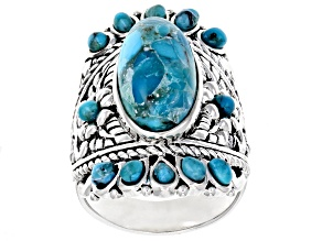 Blue turquoise sterling silver ring