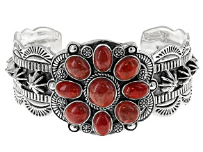 Oval Cabochon Red Indonesian Coral Sterling Silver Cuff Bracelet