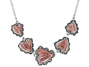 Pink rhodochrosite sterling silver necklace