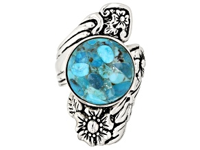 Turquoise rhodium over sterling silver floral ring