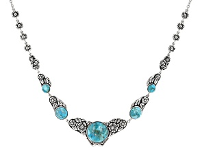 Turquoise rhodium over sterling silver necklace