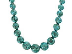 Round turquoise bead nylon cord necklace strand