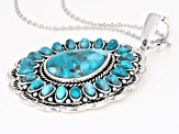 Blue turquoise sterling silver enhancer with chain