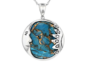 Blue Mohave Kingman turquoise sterling silver pendant with chain