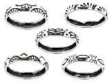 Southwest Style by JTV™ sterling silver engraved 5-piece band ring set