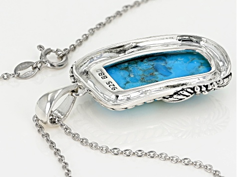 Custom Shape Turquoise Sterling Silver Pendant with Chain