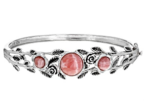 Pink Rhodochrosite Rhodium Over Sterling Silver Floral Bangle Bracelet