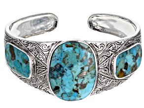 Oval and Rectangle Turquoise Sterling Silver Cuff Bracelet