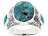 Oval and Rectangle Turquoise Sterling Silver Ring