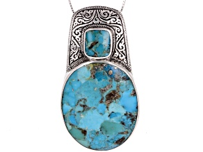 Oval and Square Cabochon Turquoise Sterling Silver Pendant with Chain
