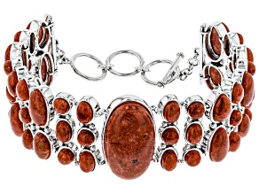 Red Indonesian sponge coral sterling silver bracelet