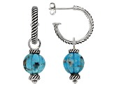 Round Carved Turquoise Sterling Silver Hoop Drop Earrings