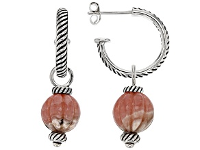 Round Carved Rhodochrosite Sterling Silver Hoop Drop Earrings