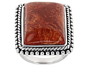 Rectangle Red Sponge Coral Rhodium Over Sterling Silver Ring