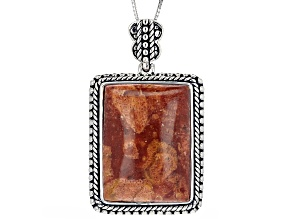 Rectangle Red Sponge Coral Rhodium Over Sterling Silver Pendant with Chain
