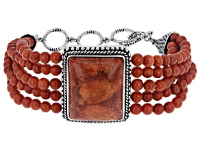 Rectangle and Round Red Sponge Coral Rhodium Over Sterling Silver Bracelet