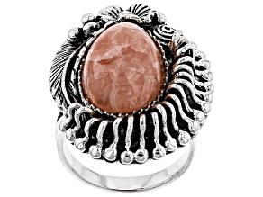 Pear Shape Cabochon Rhodochrosite Sterling Silver Ring
