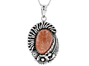 Pear Shape Cabochon Rhodochrosite Sterling Silver Pendant With Chain