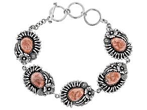 Pear Shape Cabochon Rhodochrosite Sterling Silver Bracelet