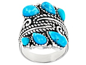 Pear Shape Turquoise Rhodium Over Sterling Silver Ring