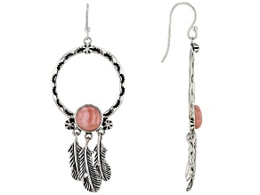 Pink Rhodochrosite Sterling Silver Feather Earrings