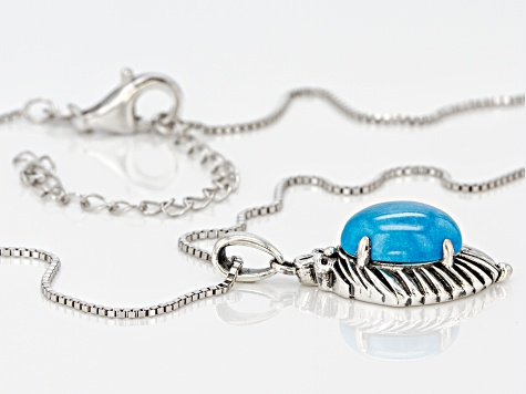 Oval Sleeping Beauty Turquoise Rhodium Over Sterling Silver Pendant With Chain