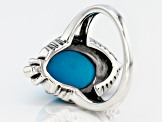 Oval Sleeping Beauty Turquoise Rhodium over Sterling Silver Ring