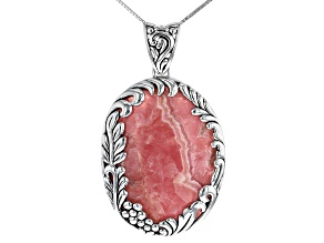 Pink Rhodochrosite Rhodium Over Sterling Silver Enhancer With Chain